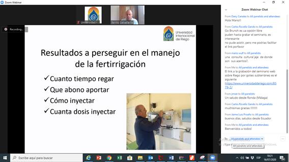 """WEBINAR 16 DE JULIO 2020 SOBRE """"Fertirrigación en riego localizado""""."""