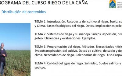 WEBINAR 20 DE ENERO 2021 SOBRE «El riego de la caña azucarera».