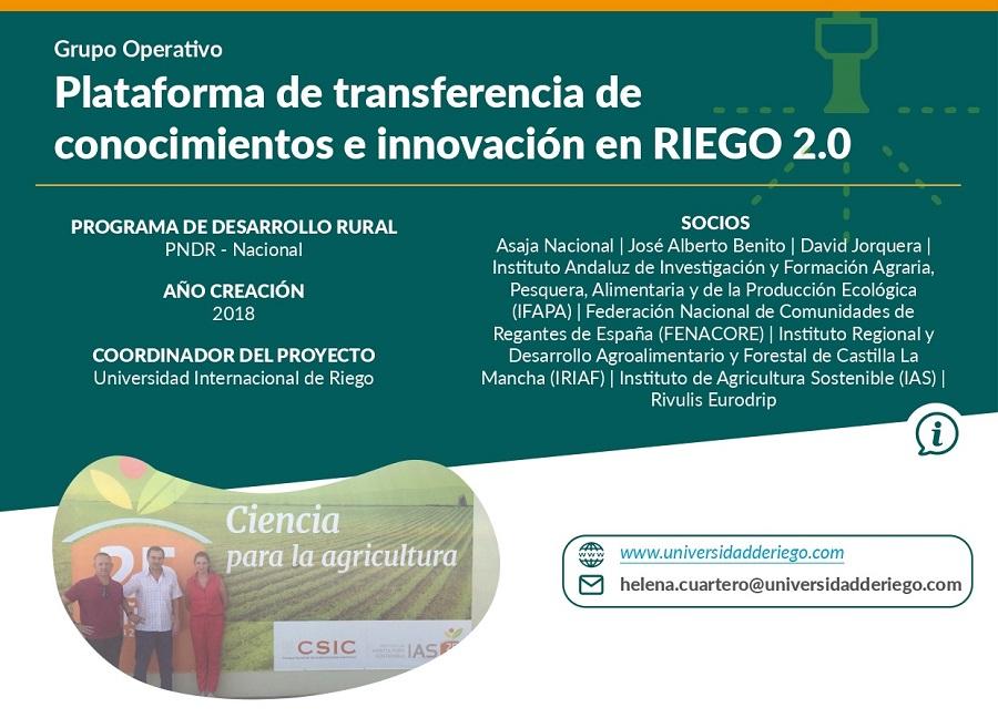 Regadíos en España: plataforma de transferencia de conocimientos e innovación en RIEGO 2.0